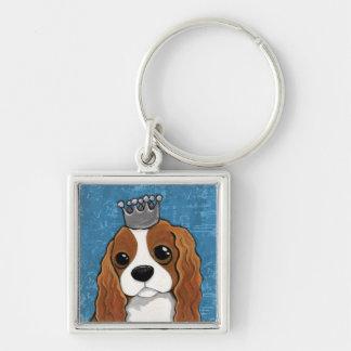 Arte del perro del perro de aguas de rey Charles Llavero Cuadrado Plateado