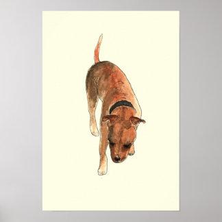 Arte del perro del Watercolour de la diversión de