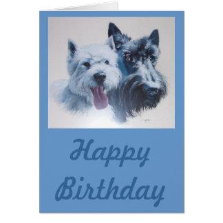 Arte del perro:  Escocés y tarjeta de cumpleaños