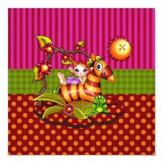 Arte del pixel de la cebra del otoño invitación 13,3 cm x 13,3cm