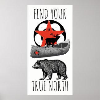 Arte del poster de la canoa de los alces del oso