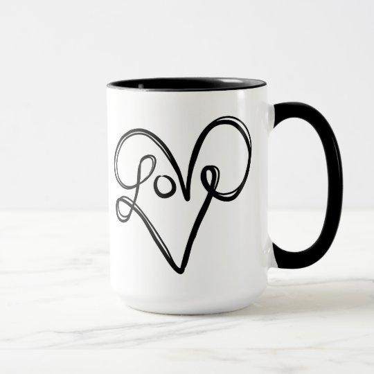 Arte del texto de la tipografía del amor taza