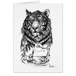 Arte del tigre del tatuaje tarjeta de felicitación