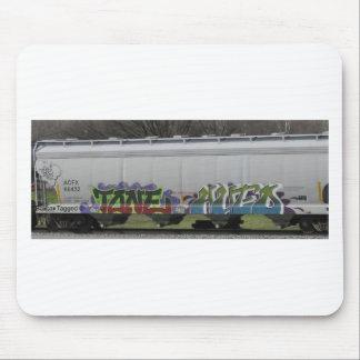 Arte del tren marcado con etiqueta alfombrilla de ratón