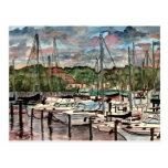 Arte del velero de los barcos de vela del puerto d postal