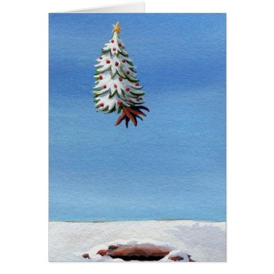 Arte del viaje del día de fiesta del árbol del tarjeta de felicitación