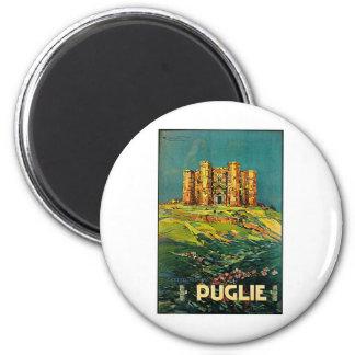 Arte del viaje del vintage de Castle del Monte Pug Imán Redondo 5 Cm