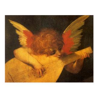 Arte del vintage, ángel del músico de Rosso Postal