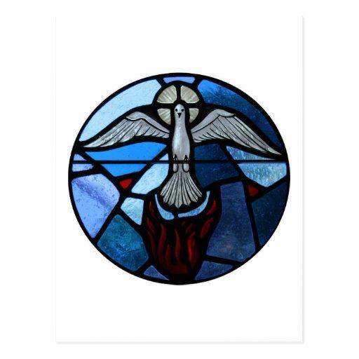 Arte del vitral del Espíritu Santo Tarjetas Postales