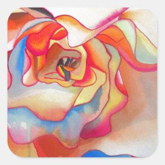 Arte del watercolour de la begonia de Fred Martin Pegatina Cuadrada