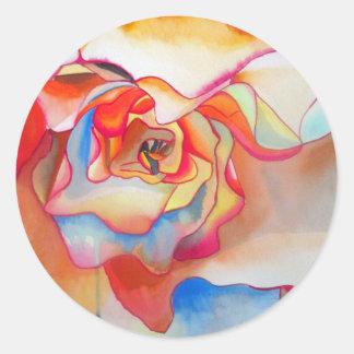Arte del watercolour de la begonia de Fred Martin Pegatina Redonda