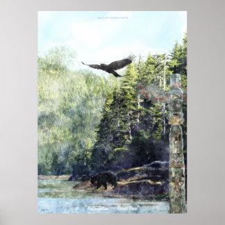 Arte del Watercolour de la fauna y del tótem de Kh Poster