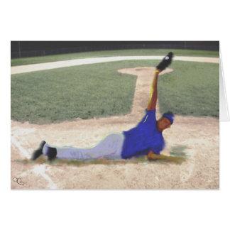 Arte difícil de la captura del béisbol tarjeta de felicitación