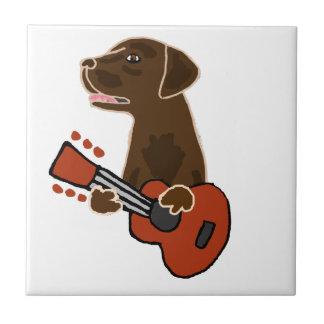 Arte divertido de la guitarra del labrador azulejo de cerámica