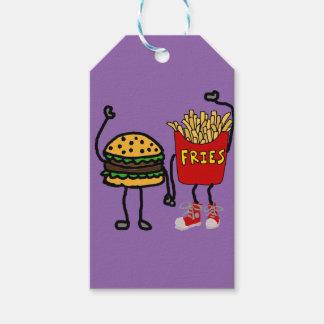 Arte divertido de la hamburguesa y del dibujo etiquetas para regalos