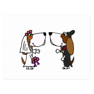 Arte divertido del boda de novia y del novio de postal