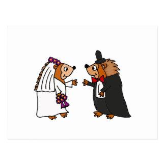 Arte divertido del boda del erizo de novia y del postal