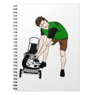 Arte divertido del dibujo animado del hombre del libros de apuntes