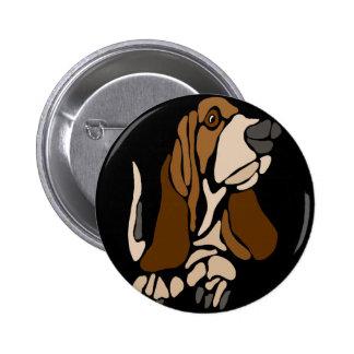 Arte divertido del perro de Basset Hound Chapa Redonda De 5 Cm