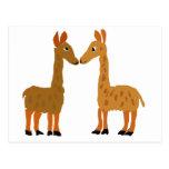 Arte divertido del primitivo del amor de la llama tarjeta postal