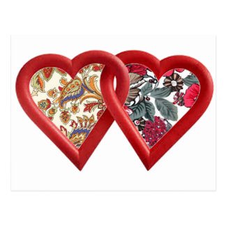 arte doble del batik del corazón postal