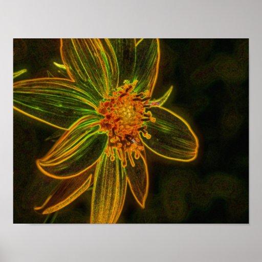 Arte eléctrico de la flor del extracto del girasol poster