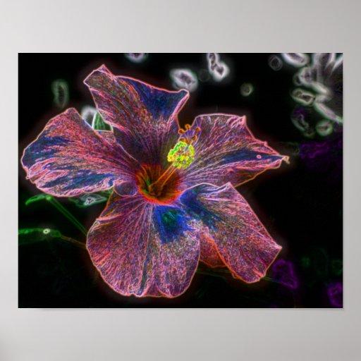 Arte eléctrico de la flor del hibisco posters