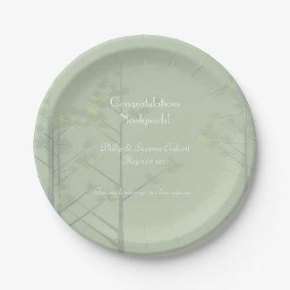 Arte elegante del árbol de la verde salvia de los plato de papel
