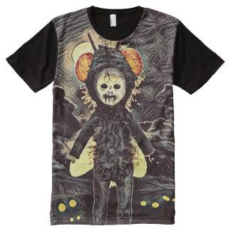 Arte espeluznante de la oscuridad del chica del camisetas con estampado integral