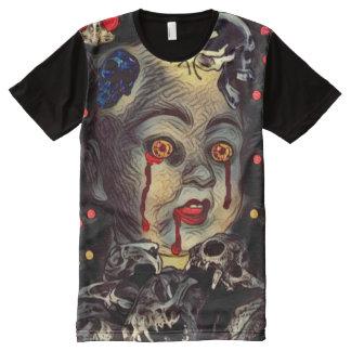 Arte espeluznante de la oscuridad del horror del camisetas con estampado integral