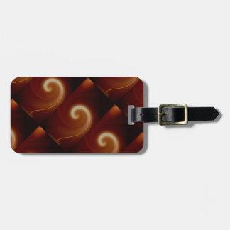 Arte espiral ligero oscuro de Brown Etiquetas Para Maletas