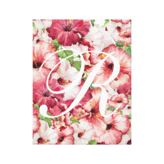 Arte estirado floral de la lona de la acuarela