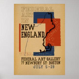 Arte federal en poster del vintage de Nueva