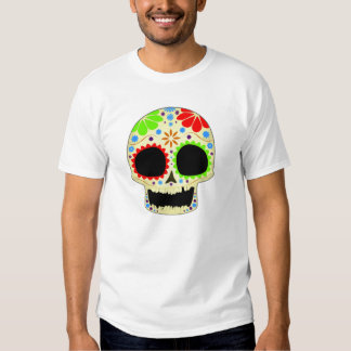 Arte feliz del cráneo del azúcar camiseta