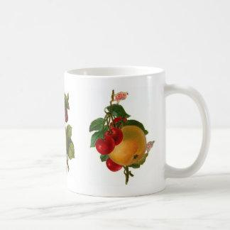 Arte floral de la fruta del vintage taza clásica