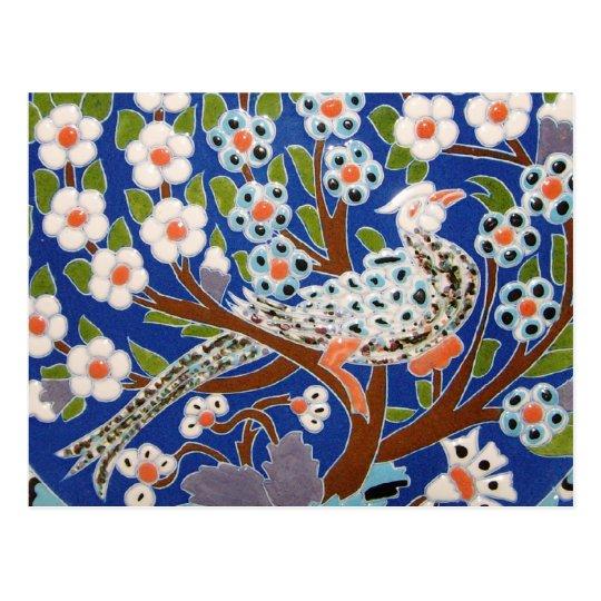 Arte floral de la teja del pavo real postal