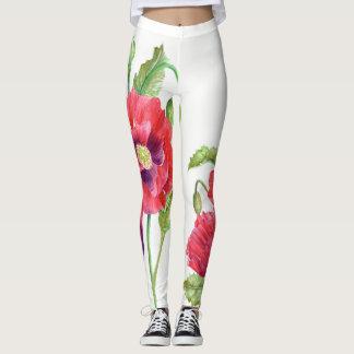 Arte floral de las amapolas rojas grandes leggings