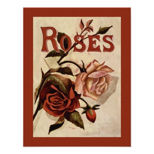 Arte floral de los rosas del vintage anuncio