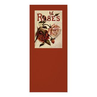 Arte floral de los rosas del vintage invitación 10,1 x 23,5 cm