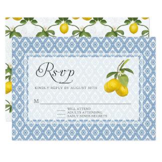 Arte floral del enrejado rústico del limón de la invitación 8,9 x 12,7 cm