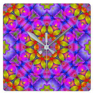 Arte floral G445 del fractal del reloj de pared