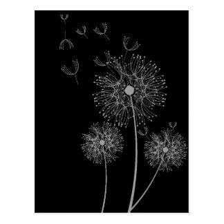 Arte floral moderno blanco y negro del diente de postal