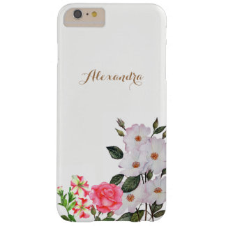 Arte floral personalizado de las flores rosadas funda barely there iPhone 6 plus