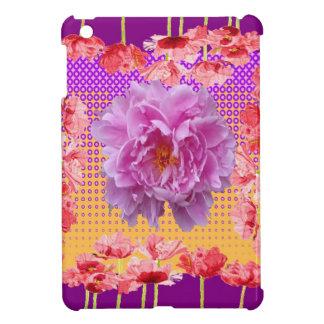 arte floral púrpura del peony rosado
