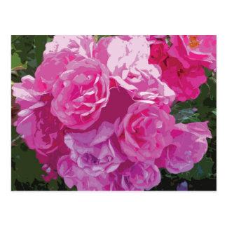 Arte floral rosado postal