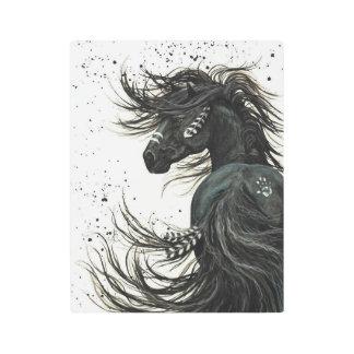 Impresión En Metal Arte frisio negro majestuoso del metal del caballo