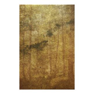Arte gastado apenado del bosque del marrón del papelería