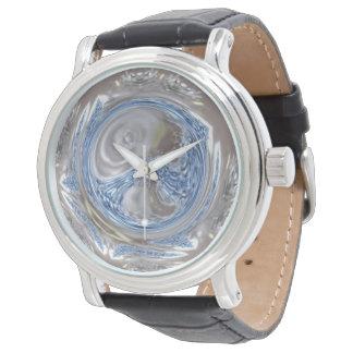 Arte geométrico azul claro del círculo de los gris reloj de pulsera