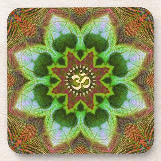 Arte geométrico de la mandala de Lotus OM Sistema Posavasos