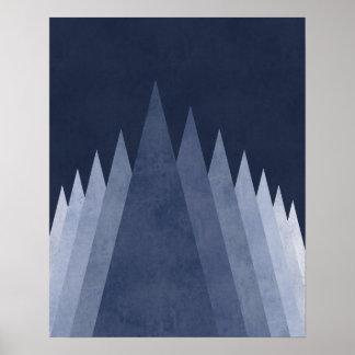 Arte geométrico mínimo moderno de las montañas